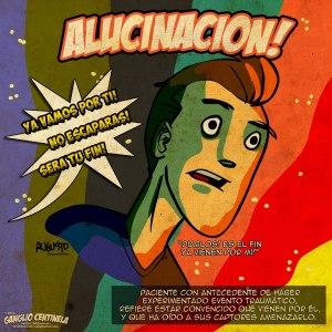 Alucinaciones Auditivas. Ilustración cortesía de @GCentinela